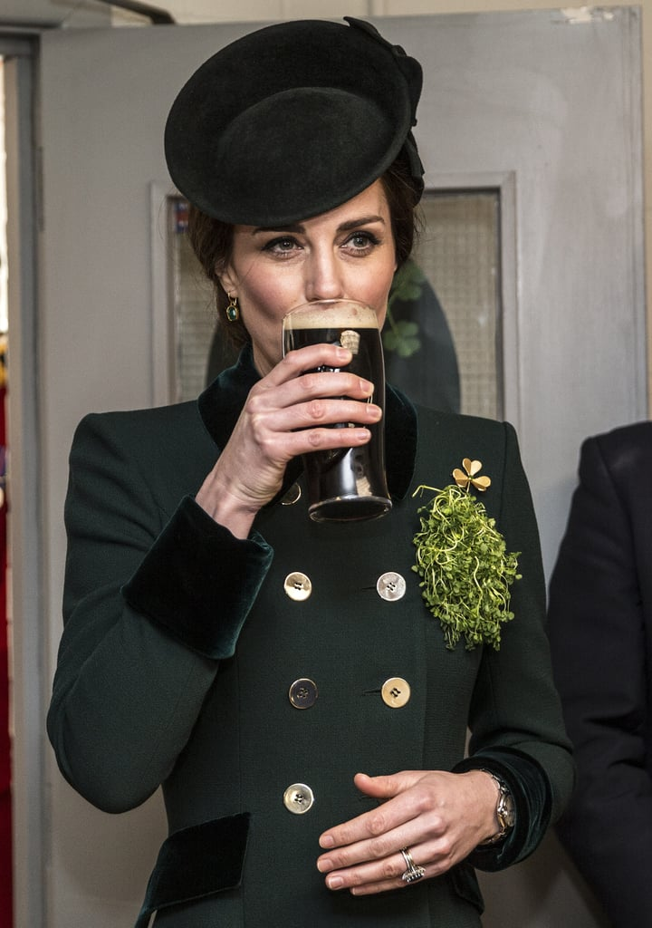 Kate Middleton Looks Totally at Ease While Drinking Guinness and Chatting With Soldiers