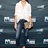 At it again, Nikki Reed added an attention-getting pair of red t-strap platforms to spice up a white button-down and jeans look.