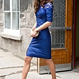 The duchess chose an Erdem dress in her signature color for a trip to Quebec City.