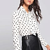 Shein Bow Dot-Print Blouse
