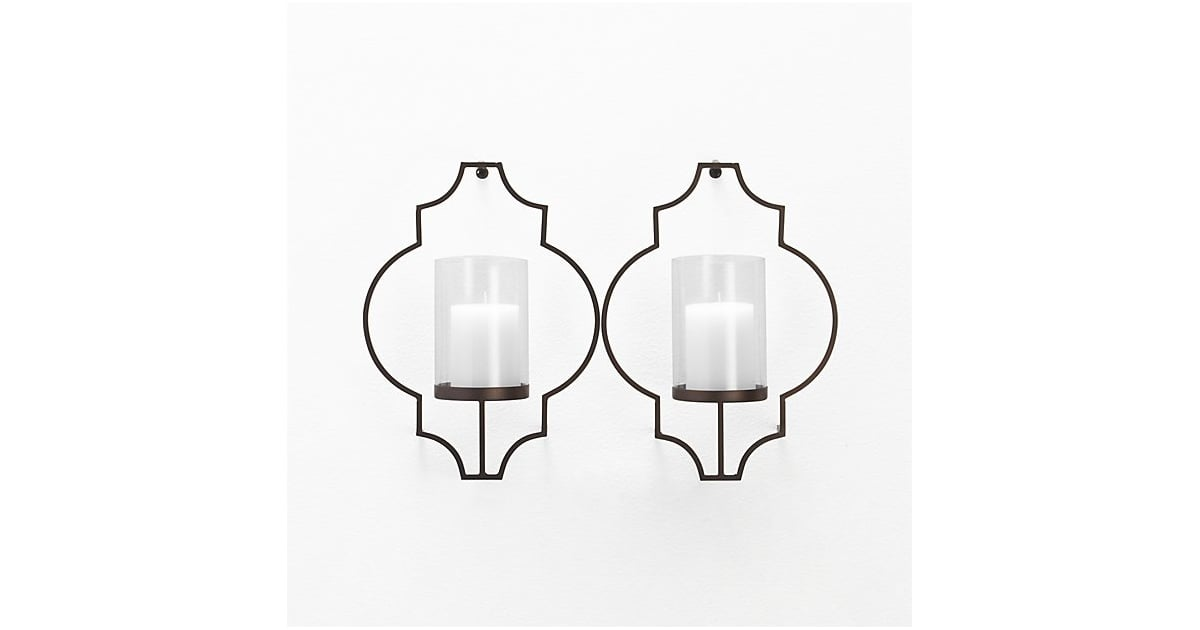 crate  u0026 barrel set of two rosaline metal wall candle