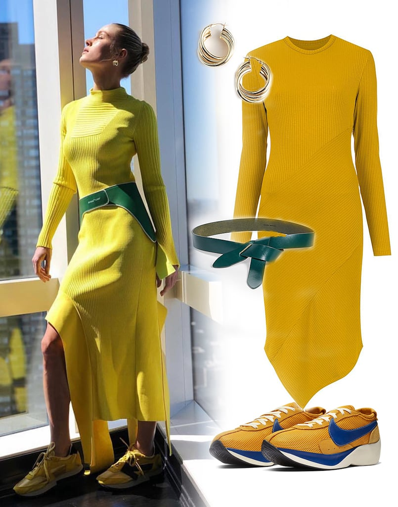 Brie Larson Yellow Off White Dress and Sneakers
