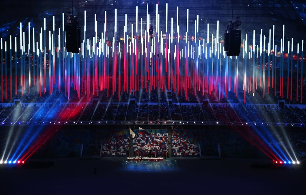 Singers performed the Russian national anthem ahead of the closing ceremony.