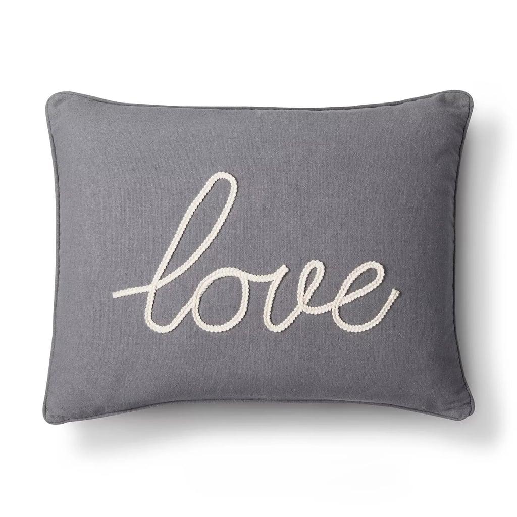 Gray Love Throw Pillow