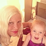 Tori Spelling enjoyed some downtime with little Hattie during a family vacation to Mexico. Source: Instagram user torianddean