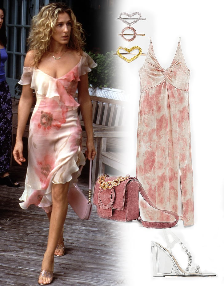 carrie bradshaw's asymmetrical floral dress  how to dress