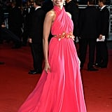 Freida Pinto accessorised her draped one-of-a-kind Gucci gown with shimmering jewellery from Chopard.