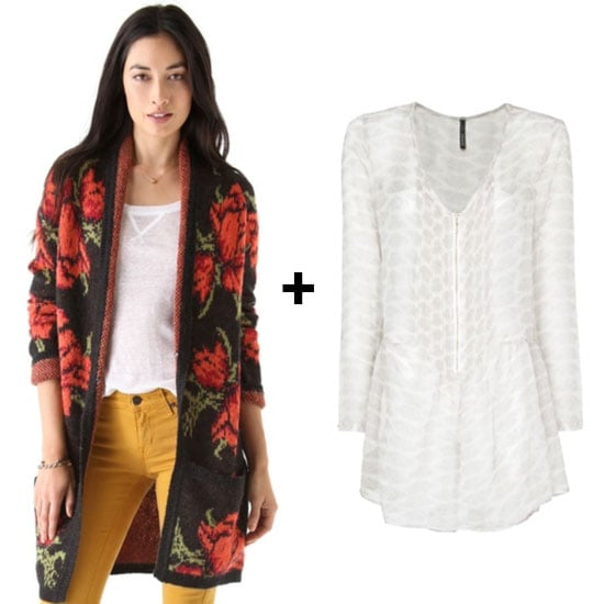 For the bohemian nomad, don a long rose-print cardigan with a sheer tunic for relaxed layered look. Finish off with ankle boots and skinny jeans for a cool weekend outfit.  Free People Flower Power Cardigan ($168) Mango Butterflies Sheer Tunic Blouse ($80)