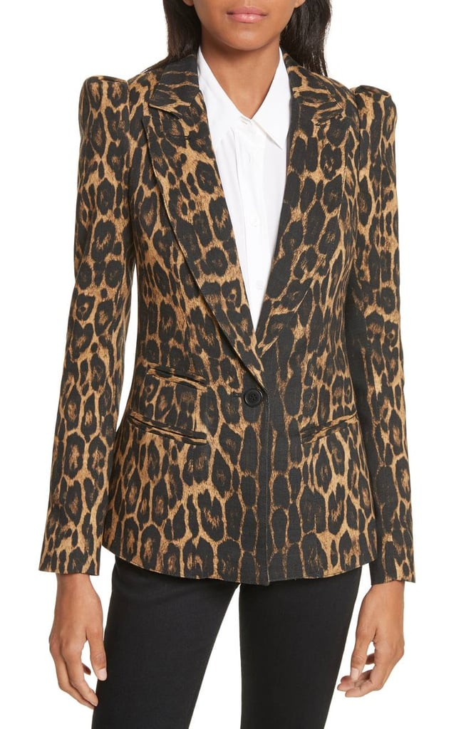Smythe Women's Leopard Puff Shoulder Wool Blazer