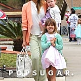 Jessica Alba took her daughters, Honor and Haven, to her mother's house for Easter dinner in Santa Barbara, CA.