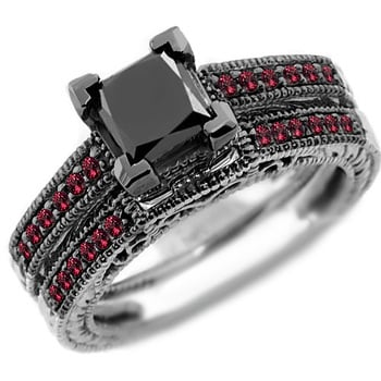 Jewelry Point Princess Black Diamond and Ruby Engagement Ring Set