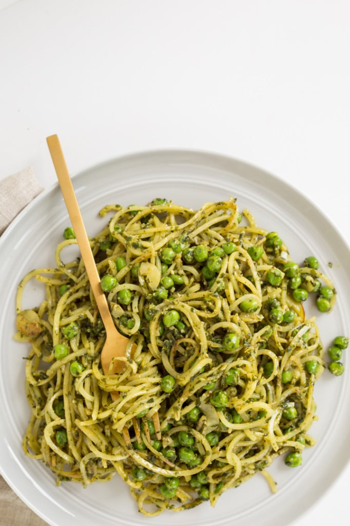 Peas, Pesto, Yukon Potatoes, and Zucchini Noodles