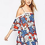 ASOS Sundress in Bright Floral with Cold Shoulder and Lace Hem