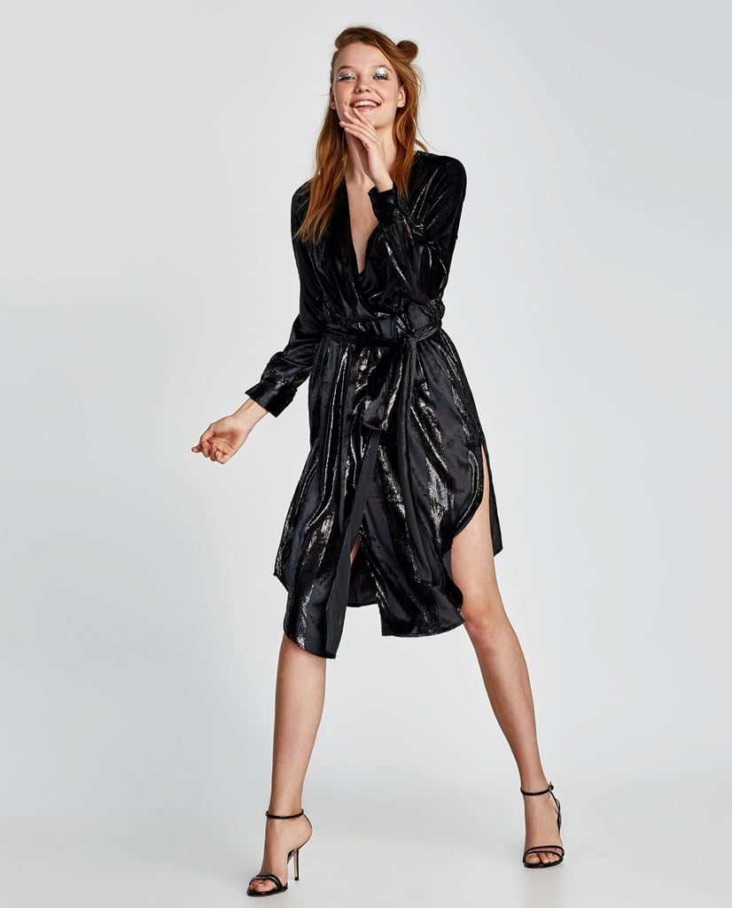 Zara Shimmery Jacquard Crossover Dress