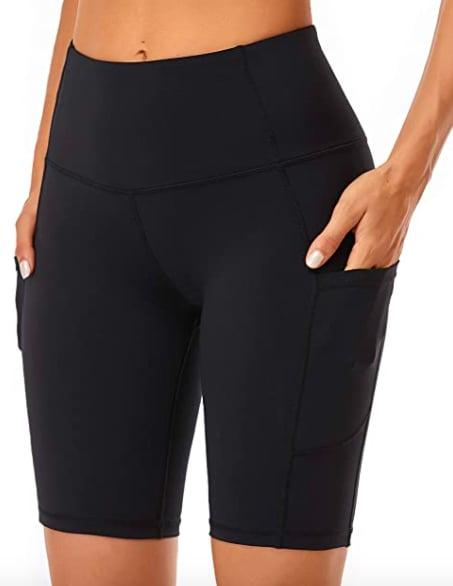 Oalka Women's High Waist Workout Shorts