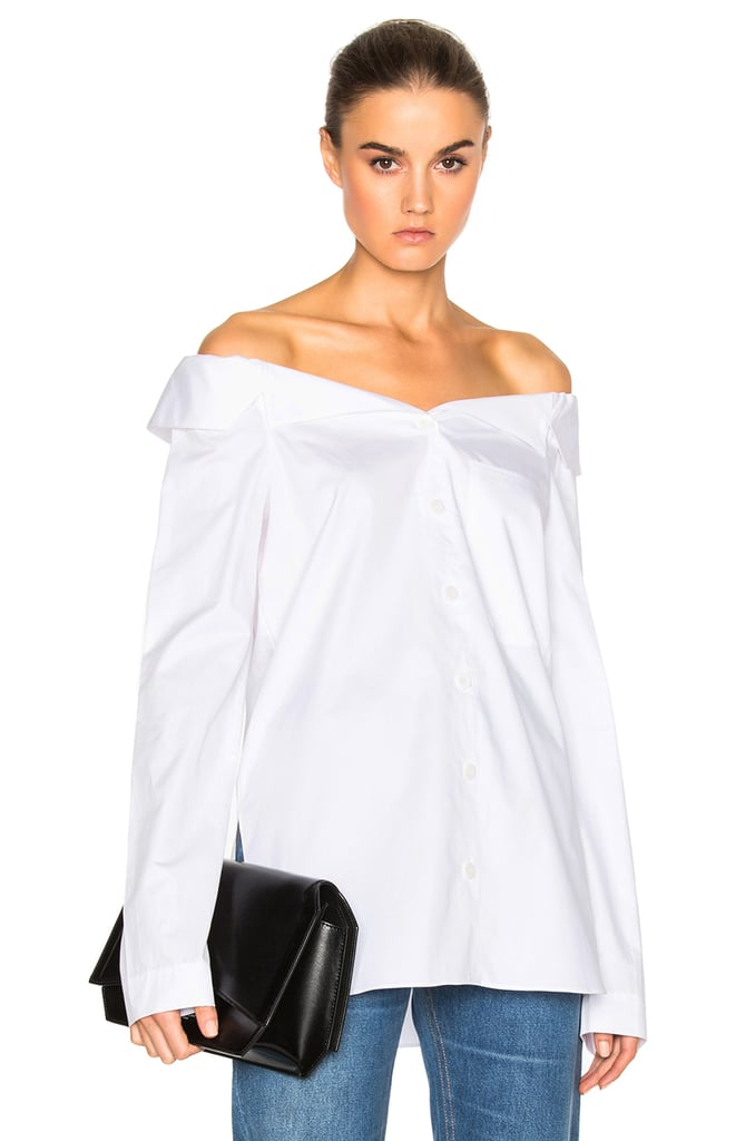 Tibi Noticed Off-the-Shoulder Shirt ($345)
