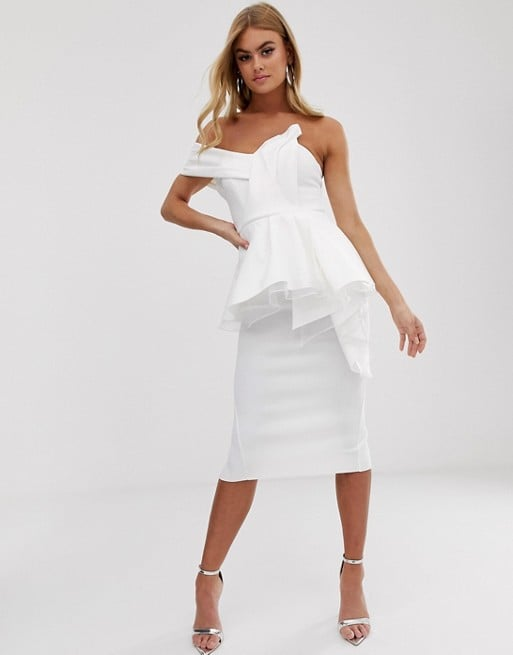 Asos Design Organza Fold Detail Peplum Bandeau Midi Dress