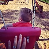 Michael Bublé and little Noah got into the swing of things in an Argentinian park. Source: Instagram user michaelbuble
