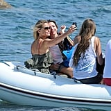 Bar Refaeli snapped photos with friends.