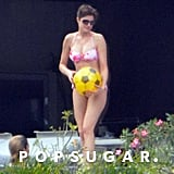 Stephanie Seymour chatted with her kids while holding a ball.
