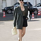 Style Black Shorts With a Bodysuit, Oversize Blazer, and Strappy Black Heels
