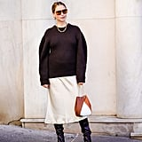 Style Boots With a Chunky Sweater and Aviator Sunglasses