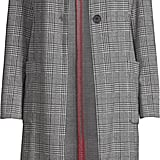 Scoop One-Button Patch Pocket Plaid Knit Duster