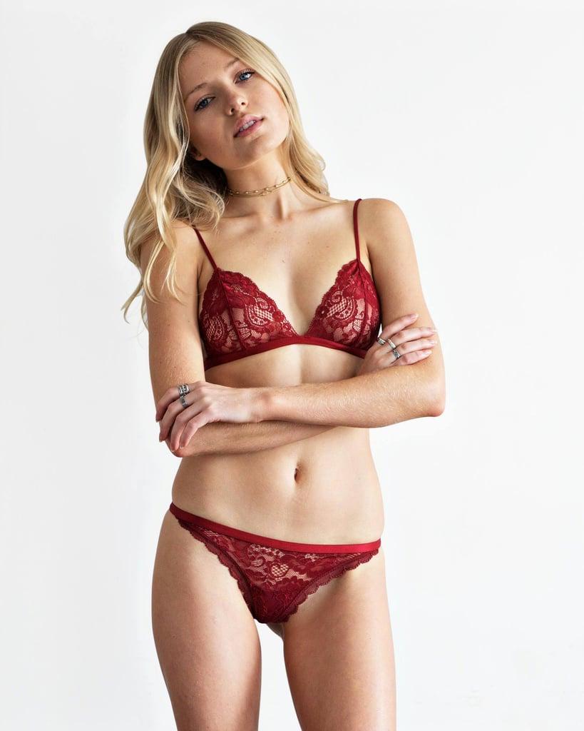 mossman red lace underwear lace set 3995