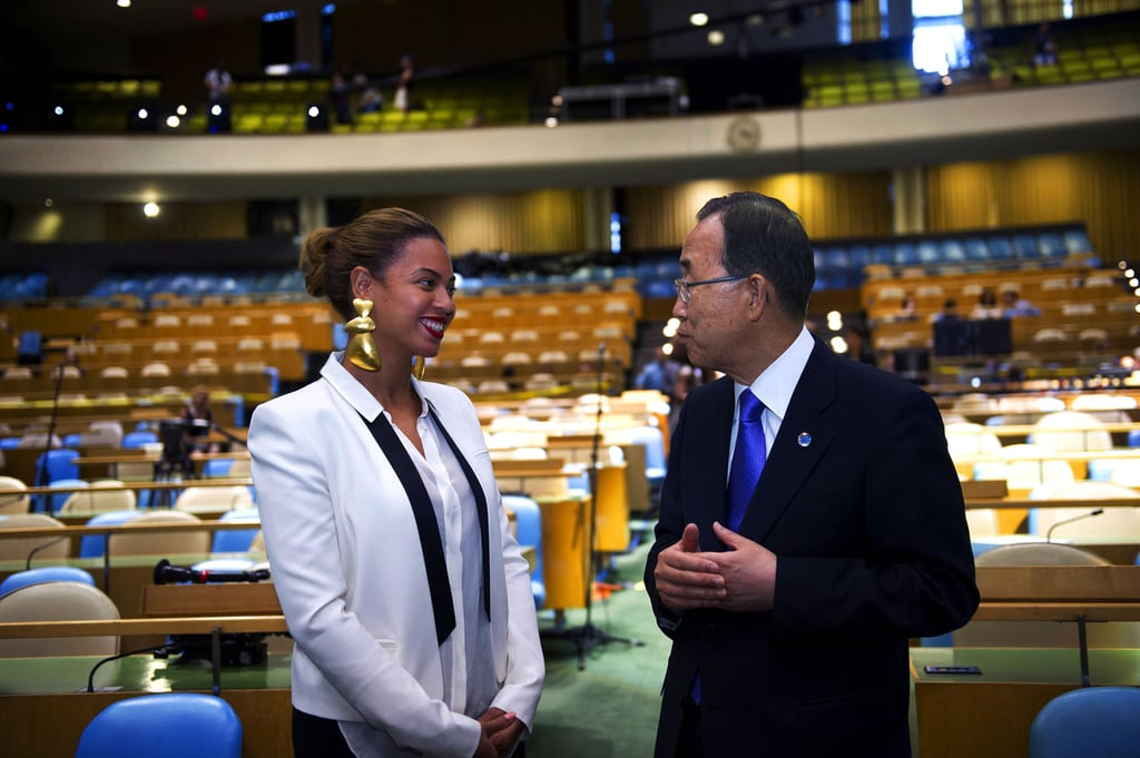 "Beyoncé Knowles shared a picture of her meeting with UN Secretary-General Ban Ki-moon in NYC on her Tumblr account. Beyoncé shot a new video for her song ""I Was Here"" before a live audience in the UN General Assembly Hall. The finished product will debut Aug. 19, World Humanitarian Day. She hopes her video will help one billion people get active on World Humanitarian Day, and reach out to help one other person. Aside from her dedication to UN efforts, Beyoncé has recently been splitting time between the Big Apple and her vacation rental with husband Jay-Z and their baby Blue in the Hamptons. Source: Tumblr user Beyoncé"