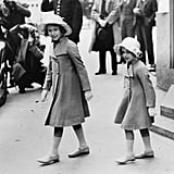 They wore cute matching ensembles for a rehearsal of their father's coronation as king in 1937.