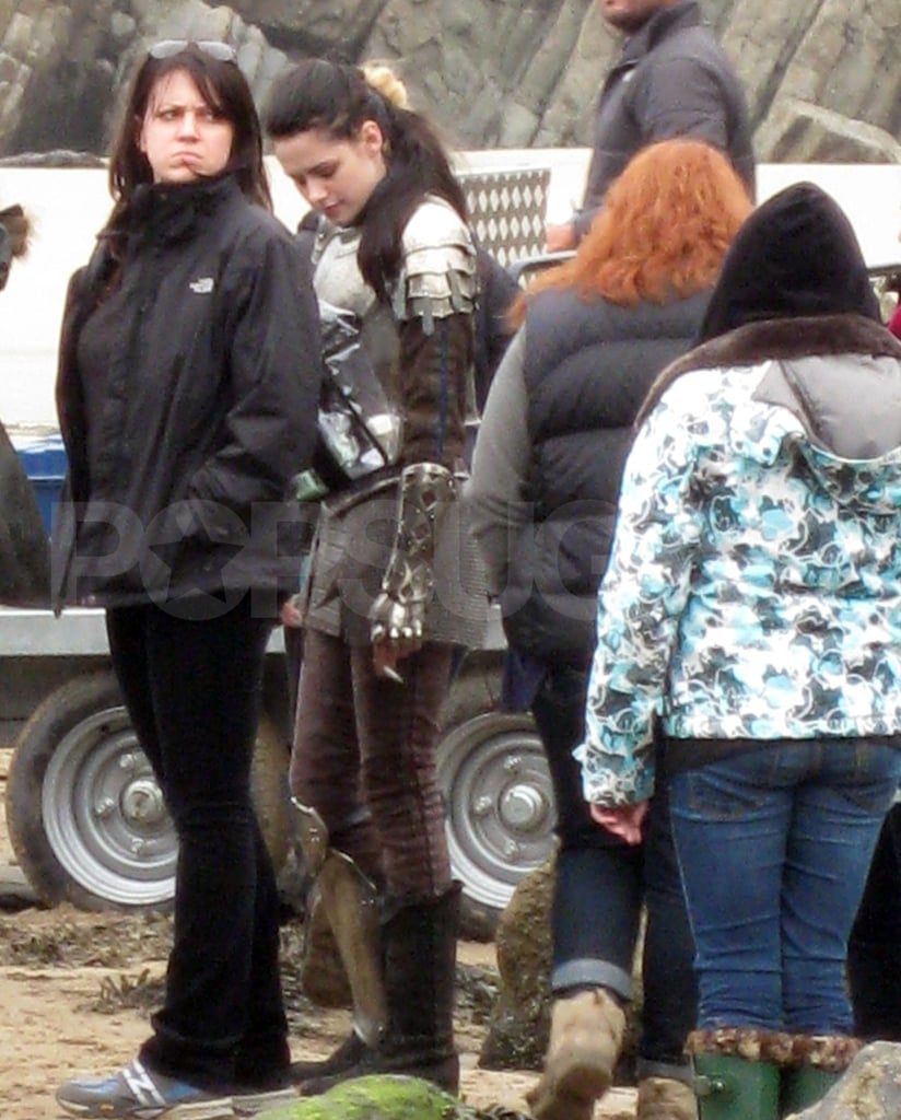 Kristen Stewart has a break on the Snow White and the Huntsman set.
