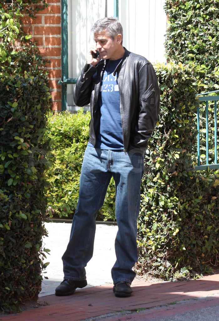George Clooney Is Leather Clad For a Sunny Day Out in LA