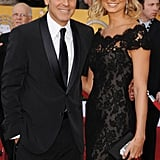 George Clooney posed with a Marchesa-clad Stacy Keibler at the 2012 SAG Awards.