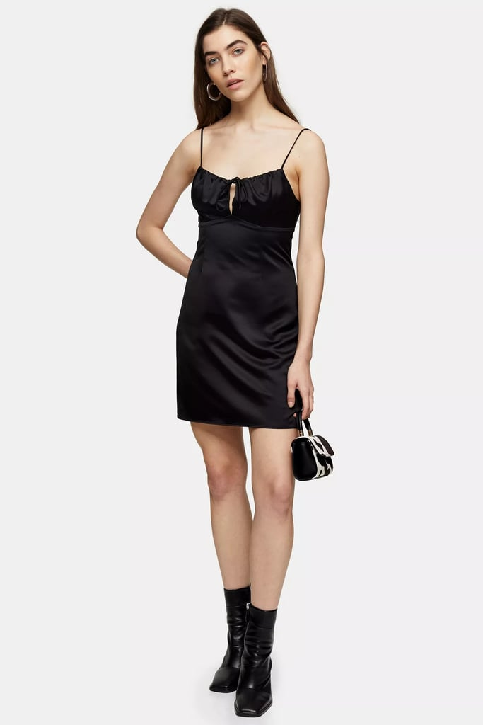 Topshop Black Gathered Bust Slip Dress