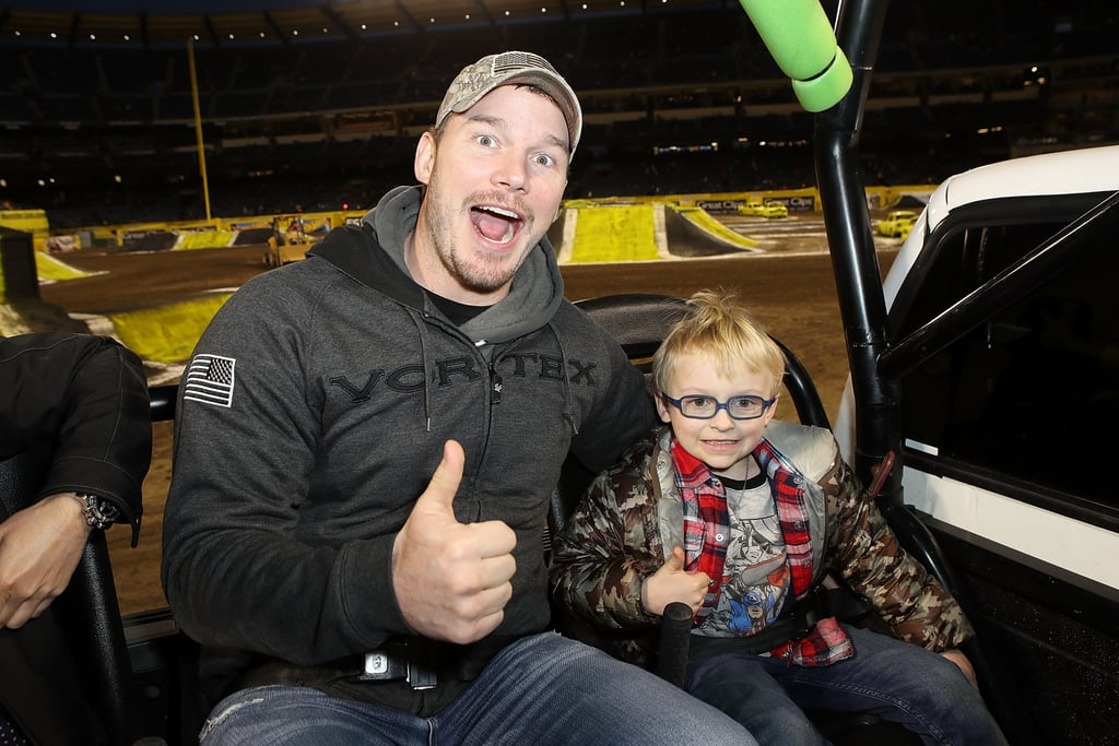Chris Pratt was in full dad mode at Monster Jam this year with his 5-year-old son, Jack. The Jurassic World: Fallen Kingdom actor could barely contain his smile at the action-packed event at Angel Stadium in Anaheim, CA, on Saturday. The 38-year-old actor has spent a lot of quality time with Jack since announcing his split from Anna Faris back in August. In December, Chris and Jack had an adorable father-son date at an LA Clippers game that melted our hearts. Read on to see more photos from their most recent boys' night out ahead. Warning: your heart just might burst from the cuteness overload.