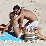 Olivia Palermo and her fiancé, Johannes Huebl, shared a kiss on the beach in St. Barts.