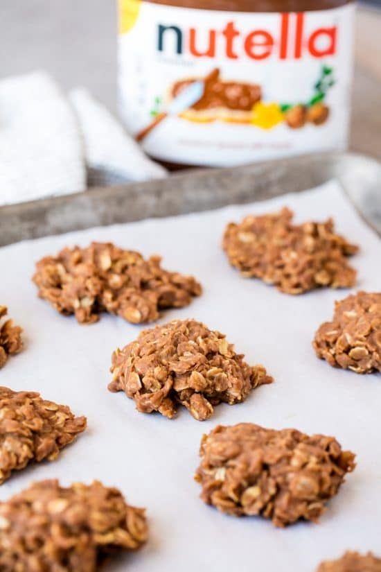 Peanut Butter Nutella No-Bake Cookies