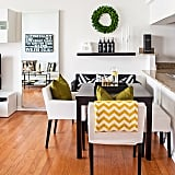The finds: many of the fun accessories in this dining room come straight from HomeGoods.