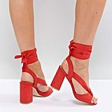Truffle Collection Tie-Up Block-Heel Sandal