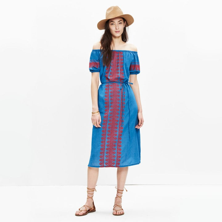 Embroidered Denim Mercado Dress ($158)
