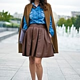 "This luxe brown style was paired with denim in Paris.  Shop the look: <iframe src=""http://widget.shopstyle.com/widget?pid=uid5121-1693761-41&look=4084891&width=3&height=3&layouttype=0&border=0&footer=0"" frameborder=""0"" height=""244"" scrolling=""no"" width=""286""></iframe> Photo Courtesy  of Phil Oh"