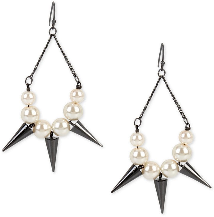 INC International Concepts Hematite-Tone Imitation Pearl and Spike Chandelier Earrings