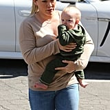 Hilary Duff kept it casual as she and Luca Comrie went to Beverly Hills.