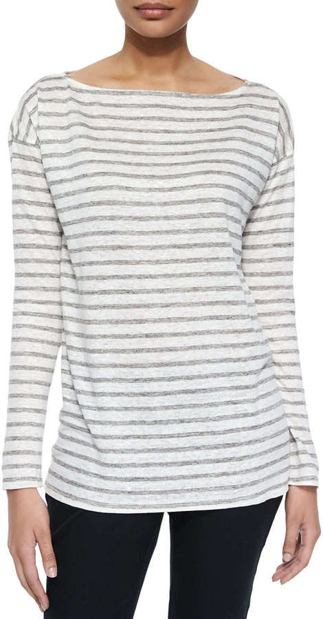 ATM Long-Sleeve Striped Linen Tee, Gray ($165)