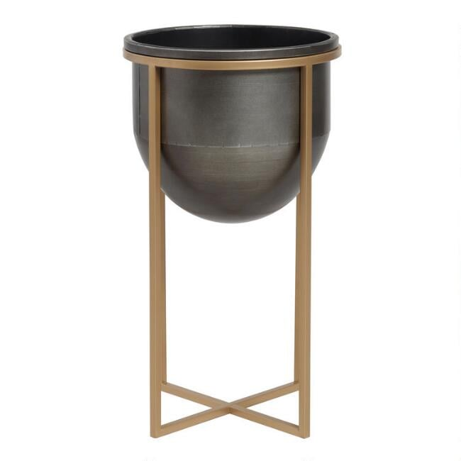 Blackened Metal Planter on Gold Stand