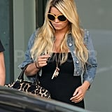 Jessica Simpson in a black maxi dress in LA.