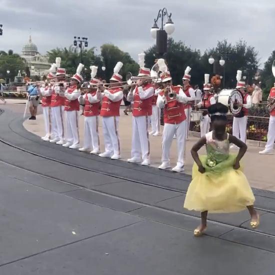 Girl Dancing at Disney Dressed as Princess Tiana | Video