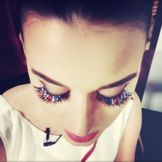 Katy Perry Union Jack Lashes at Part of Me London Premiere