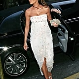 Melania completed this beaded slit dress with metallic sandals for a NYC gala in 2005.