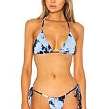 Frankies Bikinis X Sofia Richie Tasha Top in Blue Tie Dye